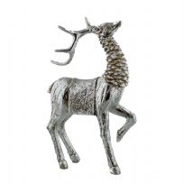 Large Hand Painted Rustic Silver Effect Standing Reindeer Freestanding Christmas Ornament